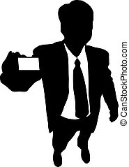 buisnessman - Businessman showing his businesscard to you