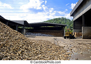 Raw Rubber at Factory - Image of raw rubber stocks at a...