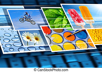 Digital imagery - Fast flow of digital photos over the...