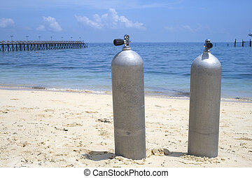Oxygen Diving Tanks - Image of oxygen tanks for divers on a...