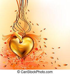 gold autumn heart - gold heart on grunge orange background