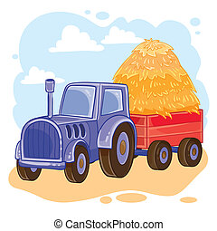 illustration of cartoon tractor with trolley full of straw