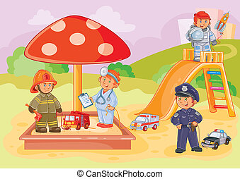 illustration small children different professions playing in the playground