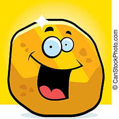 Gold Nugget Smiling - A cartoon gold nugget smiling and...
