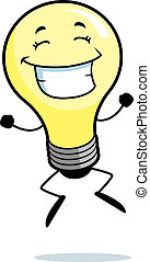 Light Bulb Jumping - A happy cartoon light bulb jumping and...