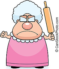 Angry Grandma - A cartoon grandma with an angry expression