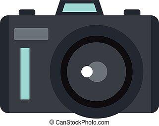 Photocamera icon, flat style - Photocamera icon isolated on...