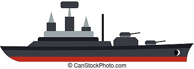 Warship icon, flat style - Warship icon isolated on white...