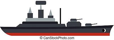 Warship icon, flat style - Warship icon isolated on white...