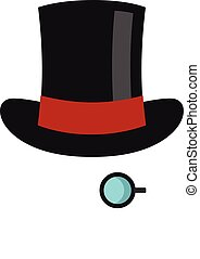 Hat with monocle icon, flat style - Hat with monocle icon...