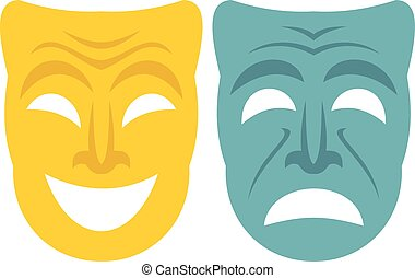 Happy and sad mask icon, flat style - Happy and sad mask...