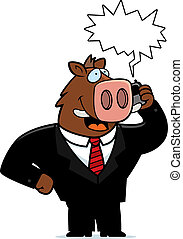 Boar Phone - A cartoon boar in a suit talking on a cell...