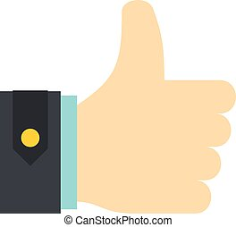 Thumbs up icon, flat style - Thumbs up icon isolated on...