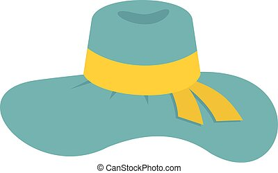 Woman hat icon, flat style - Woman hat icon isolated on...