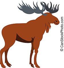Moose icon, flat style - Moose icon isolated on white...