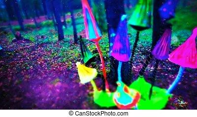 Mushroom trip VJ loop - Colorful mushroom trip VJ loop
