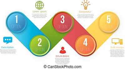 Infographics with 5 steps or options colored - Infographics...