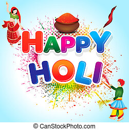 Happy holi background with color bowl and grunge vector...