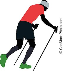 male runner with trekking poles running uphill in...