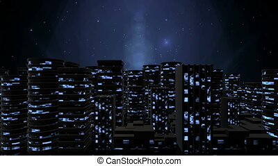 Urban Night City - Abstract modern skyscrapers with lighted...