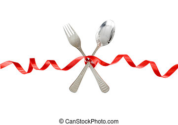 Romantic dinner - Spoon and fork tied with a  red ribbon
