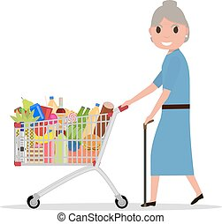 Vector cartoon old woman with shopping trolley