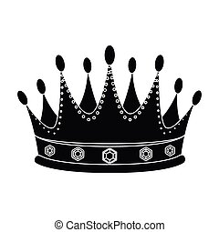 Golden crown with diamonds the winner of the beauty contest.Awards and trophies single icon in black style vector symbol stock illustration.