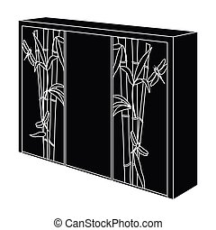 Wardrobe with mirror and green doors. the place for clothes.Bedroom furniture single icon in black style vector symbol stock illustration.