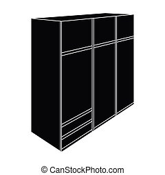 A large bedroom wardrobe with mirrow and lots of drawers and cells.Bedroom furniture single icon in black style vector symbol stock illustration.