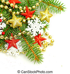 Christmas fir tree twig on decorations background