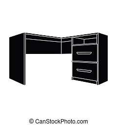 Grey desk with lockers.Desk for paperwork.Workplace and job, office, working symbol.Bedroom furniture single icon in black style vector symbol stock illustration.