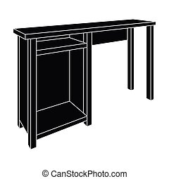 Wooden table legs.Table for drawing pictures.Table with drawers sketch icon for infographic, website or app.Bedroom furniture single icon in black style vector symbol stock illustration.