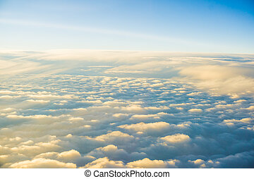 Sun Rise View Above the Clouds, Beautiful Cloudscape