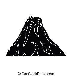 A fiery volcano.A mountain in which there is a volcanic eruption.Different mountains single icon in black style vector symbol stock illustration.
