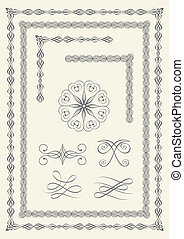Borders and emblems - Collection of elegant borders and...