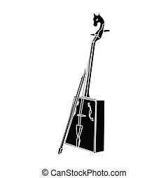Wooden musical instruments of Mongol .National music of the Mongolian.Mongolia single icon in black style vector symbol stock illustration.