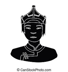 The Mongols in the helmet.Mongolian national protection.Mongolia single icon in black style vector symbol stock illustration.