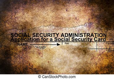 Social security form grunge concept