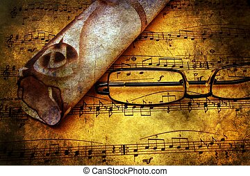 Music sheet and old letter grunge concept
