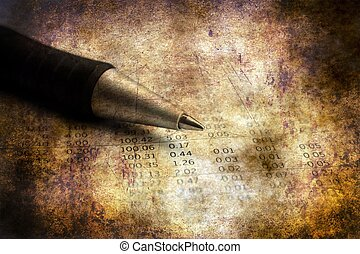 Pen on financial report grunge concept
