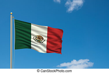 Flag of Mexico with flag pole waving in the wind on front of...