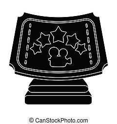 Silver prize with star, and camera on a stand.Movie awards single icon in black style vector symbol stock illustration.