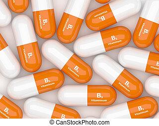 3d render of vitamin B3 pills on white table