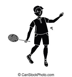 Young people involved in badminton. The game of badminton with a partner.active sports single icon in black style vector symbol stock illustration.