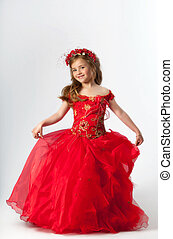 A young girl in costume princess