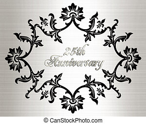 25th anniversary invitation card - Illustration, black...