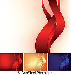 three ribbons on different color background