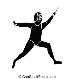 The athlete outfit with a sword.Fencing competitions .active sports single icon in black style vector symbol stock illustration.