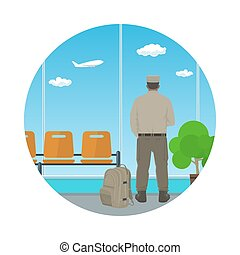 Icon Airport , Waiting Room with Man in Uniform - Man in...