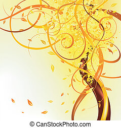 yellow falling leaves - autumn floral element with falling...